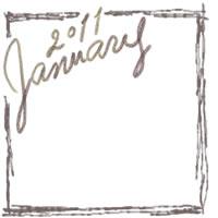 フリー素材:バナー・アイコン:200pix;モノトーン;大人かわいい手描き文字2011Januauyとラフな飾り枠のwebデザイン素材