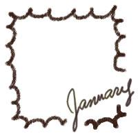アイコン(twitter,mixi,ブログ)のフリー素材:大人かわいい手描き文字2011Januaryと茶色の吹出し封飾り枠のガーリーなwebデザイン素材