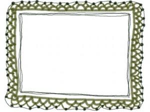 フリー素材:フレーム・飾り枠:640×480pix;草色の大人かわいい手編みレース風飾り枠。バレンタイン、ホワイトデーのwebデザイン素材