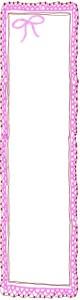 バナー広告のフリー素材:ピンクの大人かわいい手編みレース風飾り枠。バレンタイン、ホワイトデーのwebデザイン素材(160×600pix)