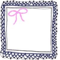 バナー広告・アイコン制作のフリー素材:200pix;ピンクのリボンとブルーブラックの大人かわいい手編みレース風のwebデザイン素材