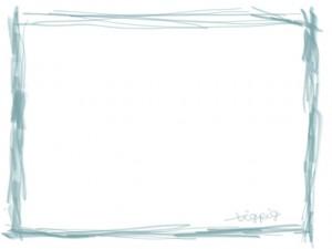 ネットショップ、webデザインのフリー素材:シンプルなパステルブルーの鉛筆風ラインの大人かわいい飾り枠(フレーム)