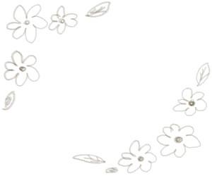 バナー広告、webデザインのフリー素材:ブラウンブラックの大人かわいい小花のフレーム(飾り枠);300×250pix