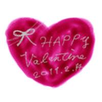 ネットショップ、webデザインのフリー素材:バレンタインの大人かわいい手書き文字Valentine2011214と赤色のハートのイラストのテクスチャ素材。