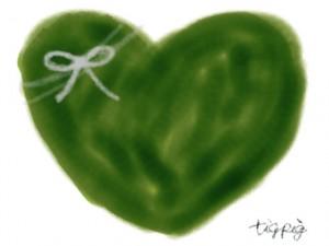 ネットショップ、バナー広告、webデザインのフリー素材:大人可愛いくすんだ緑色のハートとりぼんのイラスト