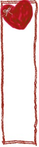 バナー広告のフリー素材:大人かわいい赤色のハートと手書きのラインの飾り枠。ネットショップのwebデザインに。(160×600pix)