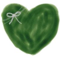 バナー広告、アイコンのwebデザイン素材:大人可愛い深緑色のハートとりぼんのフリー素材