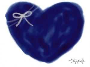 ネットショップ、バナー広告、webデザインのフリー素材:大人可愛い紺色のハートとりぼんのイラスト