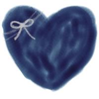 バナー広告、アイコンのwebデザインのフリー素材:大人可愛い紺色のハートとりぼんのイラスト