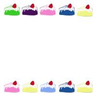 バナー広告、ネットショップ、アイコン制作のwebデザイン素材:大人可愛いイチゴショートケーキのカラフルなイラストの飾り枠のフリー素材