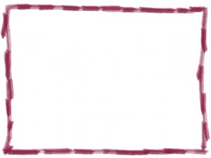 フリー素材:フレーム・飾り枠:640×480pix;ラズベリー色(赤紫)の手描き色鉛筆風のラフな飾り枠のwebデザイン素材