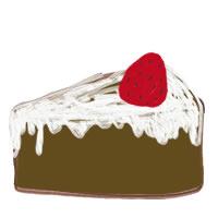 バナー広告、webデザインのフリー素材:チョコレート色の大人可愛いイチゴショートケーキのガーリーなアイコン(twitter,mixi,ブログ)のフリー素材