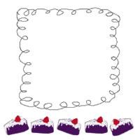 バナー広告、アイコンのwebデザイン素材:ポップ&ガーリーな紫色のショートケーキとくるくるライン(フレーム)。ネットショップ制作のフリー素材