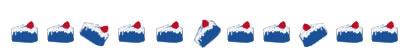 ネットショップ、webデザイン素材:大人可愛いブルーの苺ショートケーキのイラストの飾り罫のフリー素材