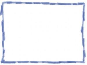 ネットショップ、webデザインの飾り枠のフリー素材:大人可愛いパステルブルーの色鉛筆風の手描き封のラフな飾り枠(640×480pix)