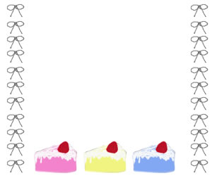 ネットショップ、バナー広告のwebデザイン素材:大人可愛いイチゴショートケーキとりぼんの飾り枠(フレーム)300×250pix
