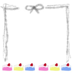 バナー広告、アイコンのフリー素材:ポップなイチゴケーキとリボンと手描きのラフなラインの飾り枠。スクエアポップアップ(250pix)のwebデザイン素材