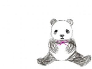 ネットショップ、バナー広告、webデザインのフリー素材:手描き鉛筆風のモノクロのパンダ。森ガール素材に。