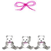 バナー広告、ネットショップ、アイコンのwebデザイン素材:大人可愛いモノクロのパンダ(3兄弟)とピンクのリボン