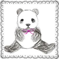 バナー広告・アイコンのwebデザイン素材:手描き鉛筆風の大人可愛いモノクロのパンダとガーリーなレースのフレーム(200×200pix)