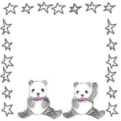 バナー広告、アイコンのwebデザイン素材:手描き鉛筆風の大人可愛いモノクロのパンダと星の飾り枠(フレーム)。スクエアポップアップ(250pix)