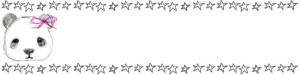 ネットショップのwebデザイン素材:手描き鉛筆風の大人可愛いモノクロのパンダと星の飾り枠のヘッダー画像(800×200pix)