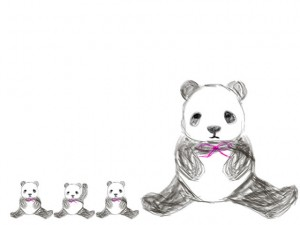 ネットショップ、バナー広告のwebデザイン素材:手描き鉛筆風の大人可愛いモノクロのパンダ(大1匹と小3匹)