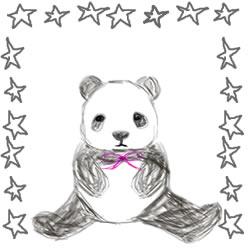 アイコンのwebデザイン素材:大人可愛いパンダと手描きの星。スクエアポップアップのバナー広告にも。(250pix)