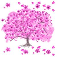 アイコン(twitter,mixi,ブログ)のフリー素材:ピンクの桜の木と花びらのwebデザイン素材