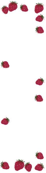 バナー広告のフリー素材:大人可愛いイチゴの飾り枠。ネットショップのwebデザインに。(160×600pix)