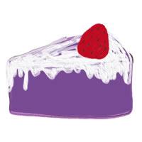 アイコン(twitter,mixi,ブログ)のフリー素材:紫のスポンジの大人かわいい苺(いちご)ショートケーキのイラストのガーリーなwebデザイン素材