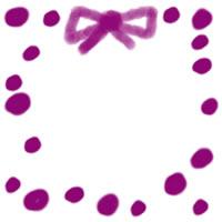 ネットショップ、バナー広告のwebデザイン素材:大人可愛い紫色の水玉とリボンの飾り枠のフリー素材。アイコン(twitter,mixi,ブログ)制作に。