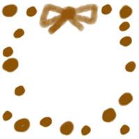 アイコン(twitter,mixi,ブログ)のフリー素材:キャラメル色の大人可愛い水玉とリボンの飾り枠のwebデザイン素材