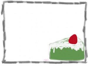 バナー広告、ネットショップのwebデザイン素材:大人可愛い抹茶色のスポンジのイチゴショートケーキの飾り枠のフリー素材
