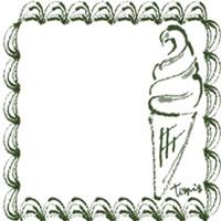 バナー広告、アイコン(twitter,mixi)のwebデザイン素材:大人可愛い抹茶色のレトロな飾り枠とソフトクリームのイラストのフリー素材(200×200pix)