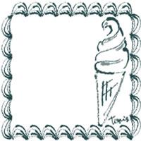 バナー広告、アイコン(twitter,mixi)のwebデザイン素材:大人可愛い青緑色のレトロな飾り枠とソフトクリームのイラストのフリー素材(200×200pix)