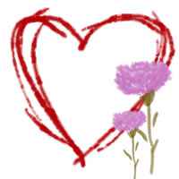 ネットショップ、バナー広告のwebデザイン素材:大人可愛いピンクの花(カーネーション)と赤いハートの飾り枠。母の日のアイコン素材(200×200pix)
