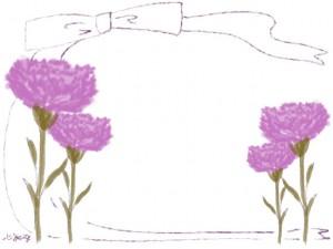 バナー広告、ネットショップのwebデザイン:大人可愛いピンクの花(カーネーション)とリボンの飾り枠・フレームのフリー素材 (640×480pix)