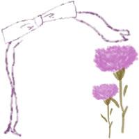 ネットショップ、バナー広告のwebデザイン素材:大人可愛いピンクの花(カーネーション)とリボンの飾り枠。母の日のアイコン素材(200×200pix)