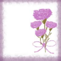 バナー広告、ネットショップのwebデザイン素材:大人可愛いピンクの花(カーネーション)とリボンの母の日の飾り枠のフリー素材(200×200pix)