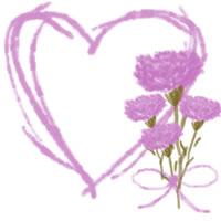 バナー広告、ネットショップのwebデザイン素材:大人可愛いピンクの花(カーネーション)とハートの母の日の飾り枠のフリー素材(200×200pix)
