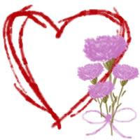バナー広告、ネットショップのwebデザイン素材:大人可愛いピンクの花(カーネーション)と赤いハートの飾り枠。母の日のアイコンに。(200×200pix)