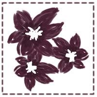 ネットショップ、バナー広告のwebデザイン素材:大人可愛い紫の花とステッチの飾り枠。アイコン(twitter,mixi)のフレーム素材(200×200pix)