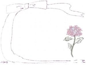バナー広告、ネットショップのwebデザイン素材:大人可愛い紫色リボンとあじさいの花の飾り枠のフレーム素材(640×480pix)