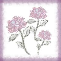 ネットショップ、バナー広告のwebデザイン素材:大人可愛いピンクの花(紫陽花)3輪と紫の飾り枠。アイコン(5月,6月)のwebデザインに(200×200pix)