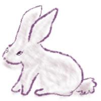 ネットショップ、バナー広告のwebデザイン素材:大人可愛い紫のうさぎ。アイコン(twitter,mixi,)のwebデザインに(200×200pix)