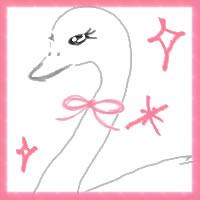 アイコン(twitter,mixi,ネットショップ)、バナー広告のwebデザイン素材:ガーリーな鳥 (白鳥)の顔とピンクのキラキラの顔とピンクのキラキラ(200×200pix)