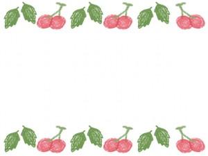 バナー広告、ネットショップのアイコンのwebデザイン素材:大人可愛い緑の葉っぱとピンクのさくらんぼいっぱいのフレーム素材(640×480pix)