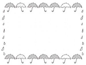 バナー広告、ネットショップのwebデザイン素材:大人可愛い水玉(ドット)のモノクロの傘のイラストのフレーム(640×480pix)