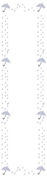 バナー広告のwebデザイン素材:大人可愛い雨と水色の傘の6月のイラストのフリー素材(160×600pix)